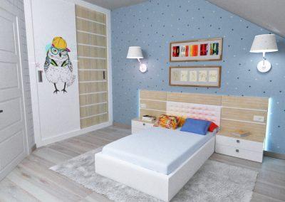 Детская комната, спальная зона. Меблировка, макет, в процессе изготовления.