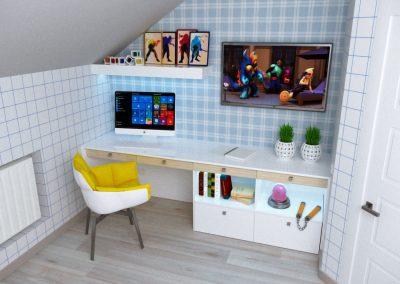 Детская комната, рабочий уголок. Меблировка, макет, в процессе изготовления.
