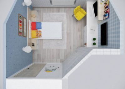 Детская комната, вид сверху. Меблировка, макет, в процессе изготовления.